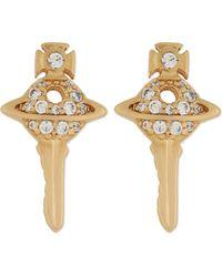 Vivienne Westwood   Metallic Darianne Key Orb Stud Earrings   Lyst