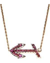 Annina Vogel - Red Bespoke Diamond And Ruby Anchor Necklace - Lyst
