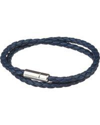 Tateossian | Blue Silver Pop Scoubidou Leather Bracelet | Lyst
