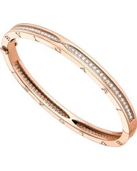 BVLGARI - Metallic B.zero1 18kt Pink-gold And Pavé Diamond Bangle Bracelet - Lyst