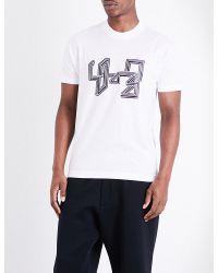 Y-3   White Line-print Logo Pure-cotton T-shirt for Men   Lyst