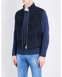 Corneliani | Blue Quilted Suede Gilet for Men | Lyst