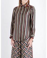 F.R.S For Restless Sleepers - Multicolor Boyfriend Striped Silk-satin Shirt - Lyst