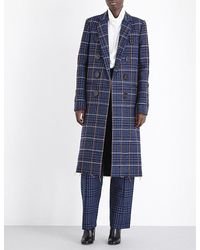 Victoria Beckham - Blue Grid-patterned Double-breasted Wool Coat - Lyst