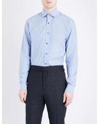 Duchamp | Blue Indy Tailored-fit Cotton-jacquard Shirt for Men | Lyst