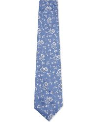 Duchamp | Blue Floral Pattern Silk Tie for Men | Lyst
