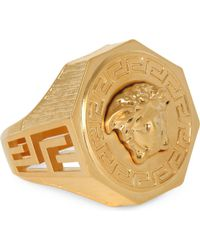 Versace | Metallic Medusa Greca Gold-plated Ring for Men | Lyst
