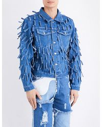 Christopher Shannon - Blue Fringed Denim Jacket for Men - Lyst