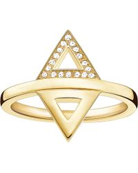 Thomas Sabo - Metallic Triangle 18ct Yellow Gold-plated Diamond Ring - Lyst