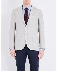 Lardini - Gray Tailored-fit Linen-blend Blazer for Men - Lyst