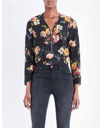 The Kooples - Black Floral-print Silk Top - Lyst