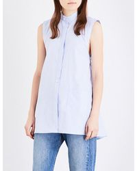 Helmut Lang | Blue Stripe-print Sleeveless Cotton Shirt | Lyst