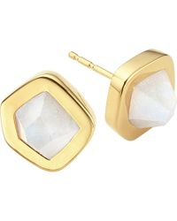 Monica Vinader | Metallic Petra 18ct Gold-plated Vermeil Moonstone Earrings | Lyst