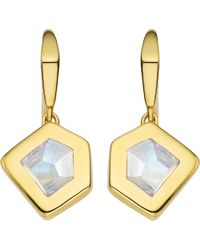 Monica Vinader | Metallic Petra 18ct Gold-plated Vermeil And Moonstone Earrings | Lyst