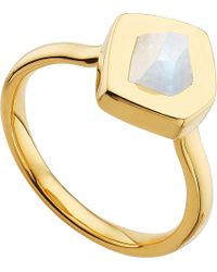 Monica Vinader - Metallic Petra 18ct Gold-plated Vermeil And Moonstone Stacking Ring - Lyst