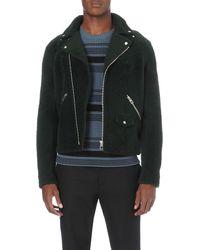 Loewe - Black Aggugliatto Shearling Biker Jacket for Men - Lyst