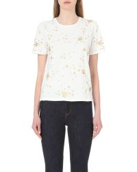 Maje | White Terence Embroidered Cotton-jersey T-shirt | Lyst