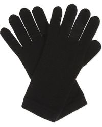 Johnstons | Black Knitted Cashmere Gloves | Lyst
