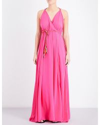 Lazul | Pink Heather Silk-crepe Maxi Dress | Lyst