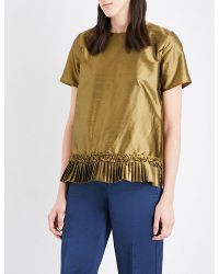 'S Max Mara | Metallic Hiris Pleated-hem Silk Top | Lyst