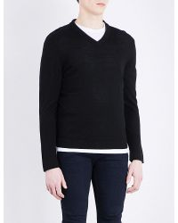 The Kooples - Black V-neck Merino Wool Jumper for Men - Lyst