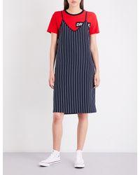 Izzue - Red Ladies Grey Striped Cotton-jersey Slip Dress - Lyst