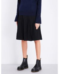 Izzue - Black Pleated Wool-blend Skirt - Lyst