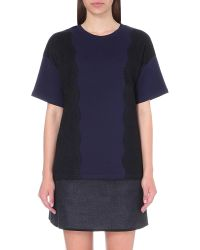Izzue | Blue Lace Embroidered Cotton-jersey T-shirt | Lyst