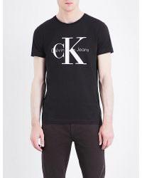 Calvin Klein | Black Logo-print Cotton T-shirt for Men | Lyst