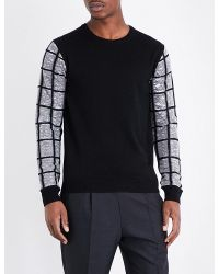 Wooyoungmi | Black Contrast Sleeve Knitted Jumper for Men | Lyst