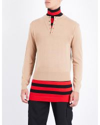 J.W.Anderson - Red Double-layer Striped Turtleneck Wool Jumper for Men - Lyst