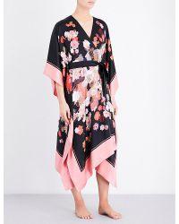 Meng - Black Floral-print Silk Kaftan - Lyst