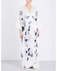 Meng - White Floral-print Silk-satin Robe - Lyst