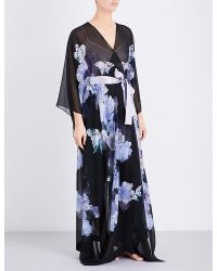 Meng - Black Floral-print Silk-georgette Kaftan - Lyst