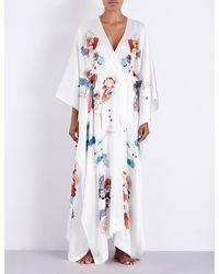 Meng | White Floral-print Draped Silk-satin Kimono | Lyst