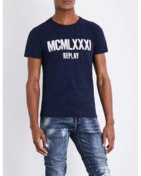 Replay   Blue Logo-print Cotton-jersey T-shirt for Men   Lyst
