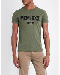 Replay   Green Logo-print Cotton-jersey T-shirt for Men   Lyst