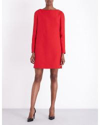 Valentino | Red Bow-detail Wool And Silk-blend Dress | Lyst