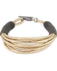 Brunello Cucinelli   Metallic Multi-strand Leather Bracelet   Lyst