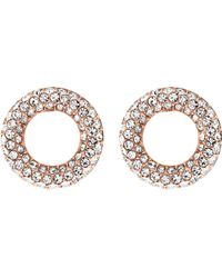 Michael Kors - Metallic Brilliance Rose Gold-toned Pavé Stud Earrings - Lyst