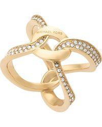 Michael Kors | Metallic Brilliance Gold-plated Pavé Ring | Lyst
