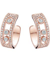 Messika | Metallic Move Joaillerie 18ct Rose-gold And Diamond Hoop Earrings | Lyst