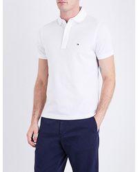 Tommy Hilfiger   White Core Slim-fit Cotton-piqué Polo Shirt for Men   Lyst