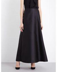 Max Mara Elegante | Black Nevada A-line Satin Skirt | Lyst