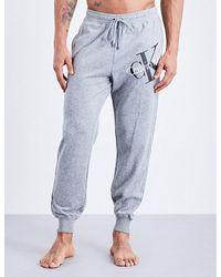 Calvin Klein   Gray Logo-detail Jersey Jogging Bottoms for Men   Lyst