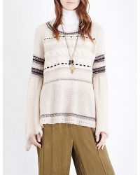 Free People | White Craft Time Knitted Jumper | Lyst