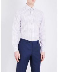 Corneliani | Red Checked Slim-fit Linen Shirt for Men | Lyst