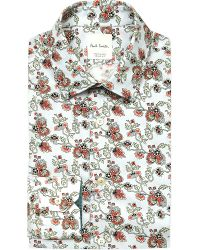 Paul Smith - Blue Soho-fit Floral-print Cotton Shirt for Men - Lyst