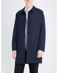 PS by Paul Smith | Blue Single-breasted Cotton-blend Coat for Men | Lyst