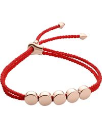 Monica Vinader | Red Linear Bead 18ct Rose-gold Plated Friendship Bracelet | Lyst